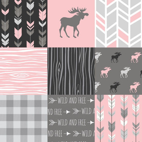 Moose Quilt - pink, grey, black - lighter