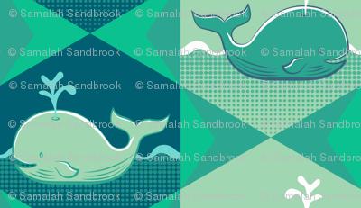 Geometric Whale Swim - Jade