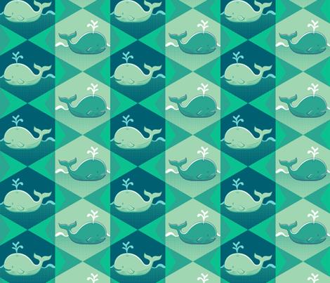 Geometric Whale Swim - Jade fabric by samalah on Spoonflower - custom fabric