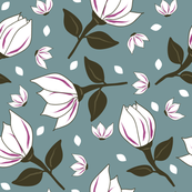 Cotton Flower Teal & Fuchsia