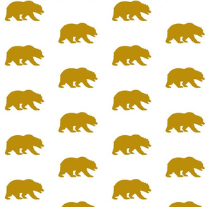Grizzly Bear - Gold/White - Mustard Bear