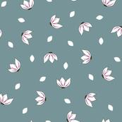 Cotton Flower Petals Teal & Fuchsia