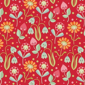 Kawaii floral red