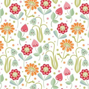 Kawaii floral white