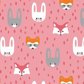 Kawaii forest faces pink