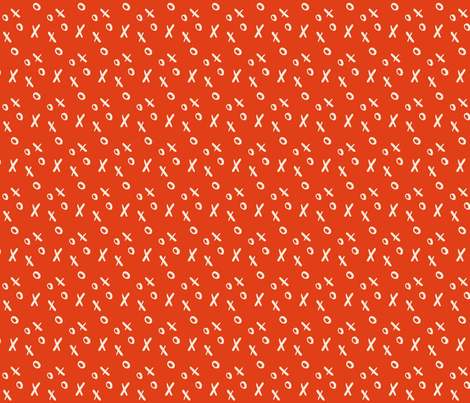 Xs and Os - Red fabric by khubbs on Spoonflower - custom fabric