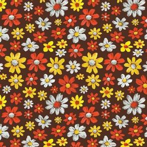 Dahlias and daisys yellow, white  and orange