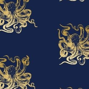 Gold octopus on navy wallpaper octopus fabric sea creature ocean gold fish