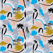 Tropical summer_leaves_pattern with blue