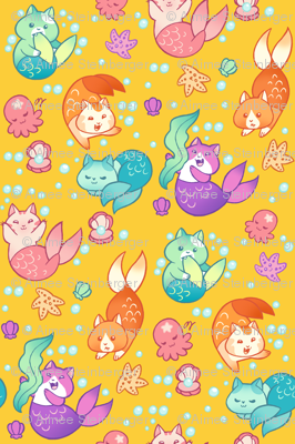 Cat Mermaids Gold