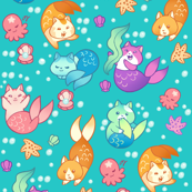 Cat Mermaids Teal