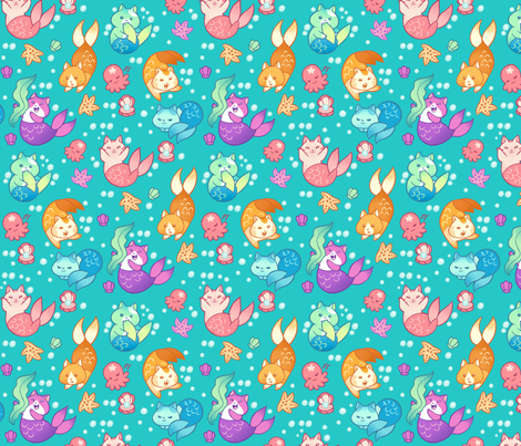 Cat Mermaids Teal fabric by aimee on Spoonflower - custom fabric