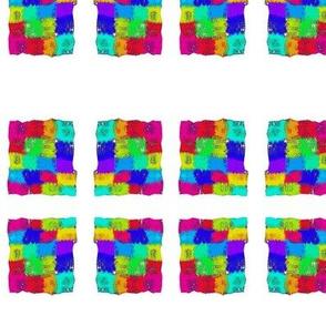 Vibrant Checks in White Window Frames