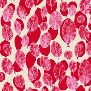 big leaves - red/pink/sand