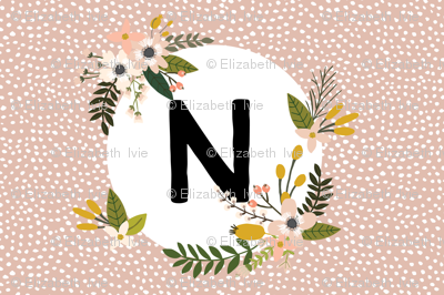 Blush Sprigs and Blooms Monogram Lovey // N