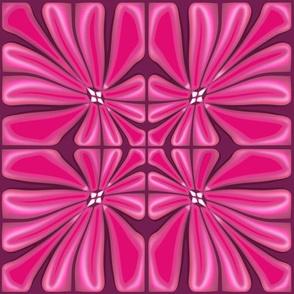Tropical Fuchsia Blooms Block Print