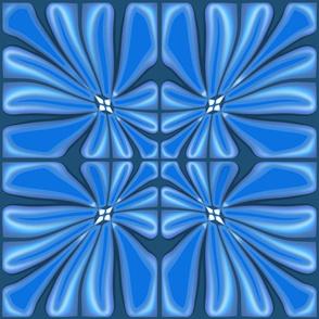 Tropical Ocean Blue Flower Block Print