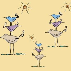 Seashore Birds Family on Yellow