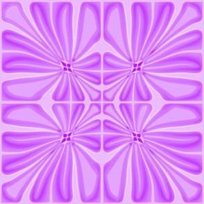 Tropical Lilac Flower Block Print