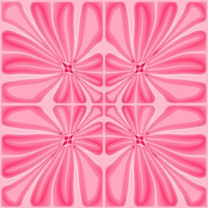 Tropical Salmon Pink Flower Block Print