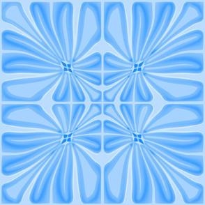 Tropical Light Blue Flower Block Print