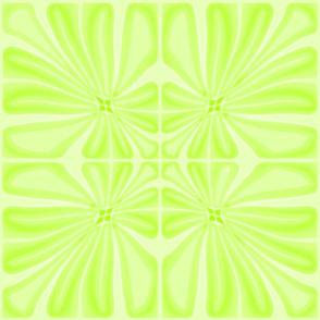 Tropical Lime Green Flower Block Print