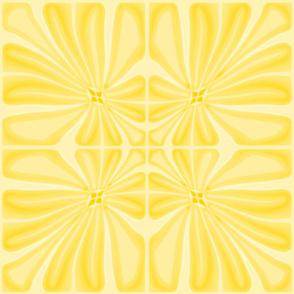 Tropical Golden Sun Flower Block Print