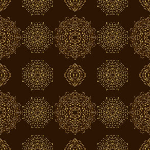 Brown & Gold Mandala Print
