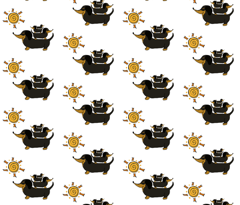 Sunshine Garden Doxies Stacked on White fabric by therustichome on Spoonflower - custom fabric