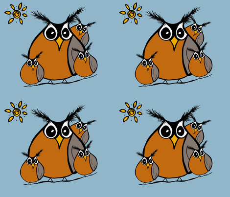 Roly Poly Robins Family panel fabric by therustichome on Spoonflower - custom fabric