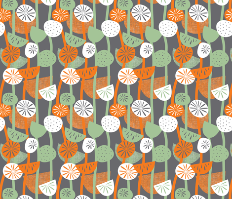 seed pods linear orange fabric by cjldesigns on Spoonflower - custom fabric
