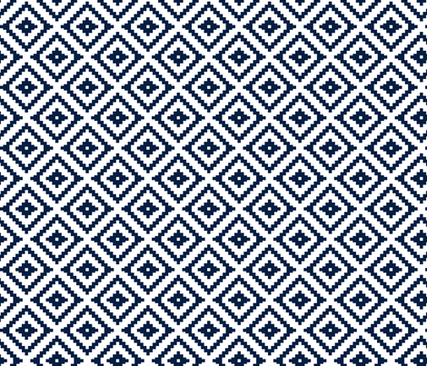 Aztec (small scale) // navy fabric by littlearrowdesign on Spoonflower - custom fabric