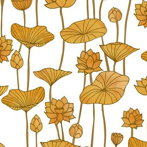 Golden Lotuses on White