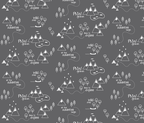 PNW Scene - White on Gray fabric by cavutoodesigns on Spoonflower - custom fabric