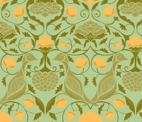 Partridges and Pomegranates - Soft Green fabric by ceciliamok on Spoonflower - custom fabric