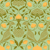 Partridges and Pomegranates - Soft Green