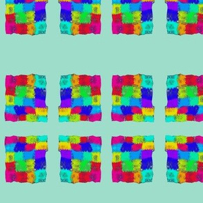 Vibrant Checks Framed by Aqua Pearl