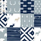 Little Adventurer Blue Wholecloth Patchwork // C2