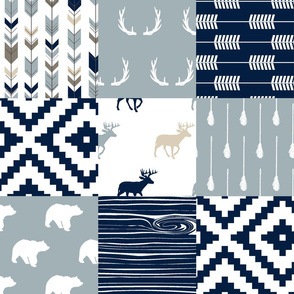 Little Adventurer Blue Wholecloth Patchwork // C2