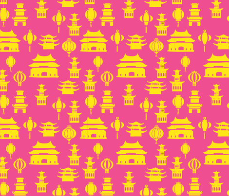 Pink and yellow pagodas fabric by efolsen on Spoonflower - custom fabric