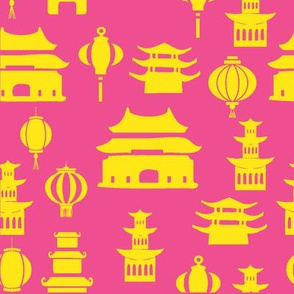 Pink and yellow pagodas
