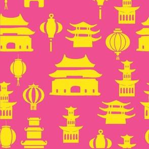 Pink and yellow pagodas