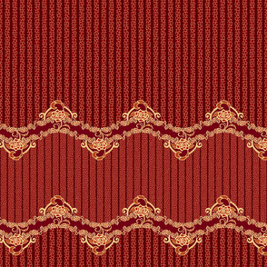 Floral Lace Stripe-Burgundy
