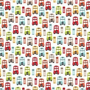 Colorful retro London bus UK great britain pattern XS