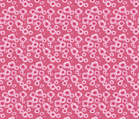 Colorful retro summer blossom scandinavian vintage style florals illustration print in pink XS fabric by littlesmilemakers on Spoonflower - custom fabric