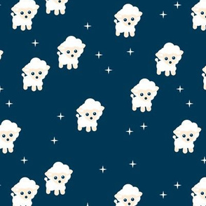 Dreamy night counting sheep stars illustration kids fabric blue
