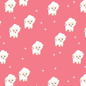 Dreamy night counting sheep stars illustration kids fabric pink