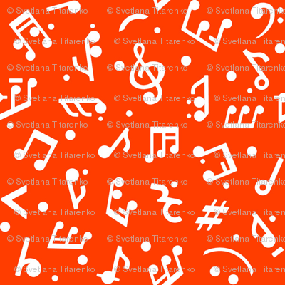 Music Notes on Red BG tiny scale