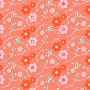 ditsy orange floral