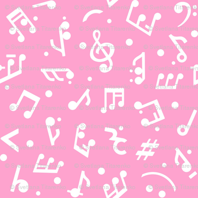 Music Notes on Pink BG in tiny scale